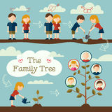 Planting the family tree. Young couple planting the family tree. Flat design concept Stock Photo