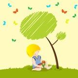 Planting flower. Little boy planting a flower Stock Images