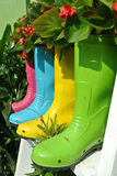 Planting flowers and vegetables creatively in old plastic boots Royalty Free Stock Photography