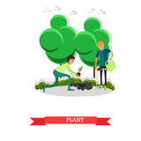 Planting, gardening concept vector illustration in flat style. Royalty Free Stock Photos