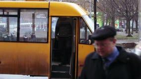 Planting of people in tram stock footage
