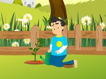 Planting a plant. Illustration of a boy planting a plant with a garden background Royalty Free Stock Photo