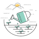 Planting pouring water into plant gardening line style illustration Royalty Free Stock Photo