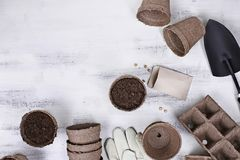 Planting Seeds. Gardening tools, seeds and soil on a white wooden table. Image shot from above in flat lay style Royalty Free Stock Photography