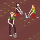 Planting of seeds. Man and women sowing the plants. Farming and agriculture.  Royalty Free Stock Photos