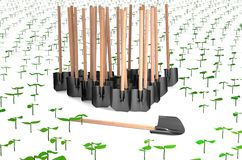 Planting sprouts with many shovels 3d illustration Royalty Free Stock Images