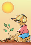 Planting a tree. Illustration of a boy planting a tree with a sun at the background Stock Photos