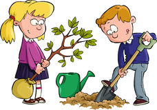 Planting a tree. The children planted a tree, vector Royalty Free Stock Photos