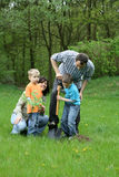 Planting a tree. Father mother and sons planting a tree - working together stock images
