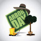 Planting a tree Arbor Day icon. EPS 10 vector stock illustration Stock Image