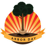 Planting a tree Arbor Day icon. EPS 10 vector stock illustration Royalty Free Stock Images