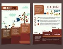 Planting tree brochure flyer stock illustration