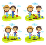 Planting tree process cartoon characters vector Royalty Free Stock Images