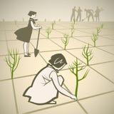 Planting trees. Children planting trees in spring retro illustration vector illustration