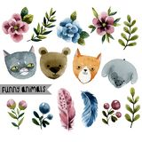 Set of cute animals and plants vector illustration