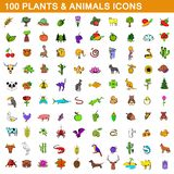 100 plants and animals icons set, cartoon style stock illustration