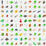 100 plants and animals icons set, isometric style. 100 plants and animals icons set in isometric 3d style for any design vector illustration Stock Illustration