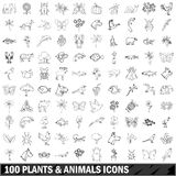 100 plants and animals icons set, outline style Royalty Free Stock Photos