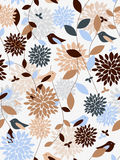 Plants and birds. Flowers and birds seamless pattern Royalty Free Stock Photography