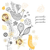 Plants and birds. Plants and cheerful graphics birdies on a white background Royalty Free Stock Photography