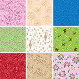 Plants and butterflies on seamless patterns - vector backgrounds. Plants and butterflies on seamless patterns - set of vector backgrounds Stock Photos