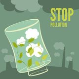 Plants clean the air. Vector plants clean the air. Stop environmental pollution Stock Photo