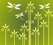 Plants and dragonflies. Yellow ornate flowers and three dragonflies on a green background Royalty Free Stock Images