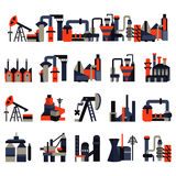 Plants and factories flat color icons Royalty Free Stock Images