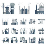 Plants and factories flat icons Royalty Free Stock Photos