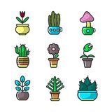 Plants and flowers in pots vector collection of sixteen elements. Vector poster of various types of cactus and blooming flowers with green stems and leaves stock illustration