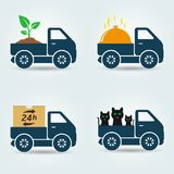Plants, food, animals and parcels delivery van icons Stock Images