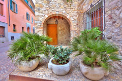 Plants in front of residential house in Sirmione. Stock Image