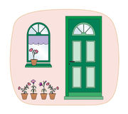 Plants and green door. Nice entrance to a house decorated with plants Stock Illustration