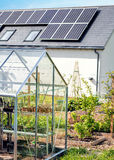Plants Growing In Greenhouse. Home Vegetable Garden Sustainable Green  Living. Plants growing in greenhouse and vegetable garden with raised beds. Solar Panel Stock Photo
