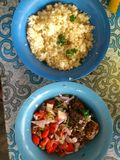 PLANTS OF HONOUR; COUSCOUS TAPIOCA AND SIDES. Royalty Free Stock Photo
