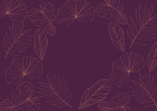Plants line art frame decoration on purple background | abstract natural template design Royalty Free Stock Image