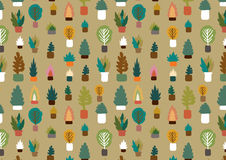 Plants in a pot pattern. Freehand drawing vector illustration Royalty Free Stock Image