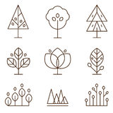 Plants and Trees Icons Set Linear Style. Trees and plants in thin line style icons set vector illustration Stock Photography