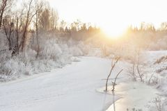 Winter river at early morning Stock Photography