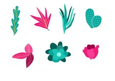 Plants vector design pack hand illustration. Plants vector design pack illustration Stock Images