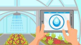 Plants Watering Remote Control System Illustration stock illustration