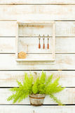 Plants on white rough wooden wall Royalty Free Stock Photo