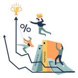 Planu biznesowego i sukcesu biznesmenów biura graficzne falcówki ilustracji