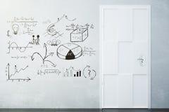 Planu biznesowego pojęcie rysujący na białym drzwi i betonowej ścianie Obrazy Royalty Free