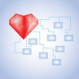 Planu biznesowy system z pustymi komórkami i diamand sercem Obrazy Stock