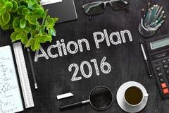 Planu Działania 2016 pojęcie na Czarnym Chalkboard świadczenia 3 d Obrazy Royalty Free