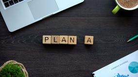 Planuje A, słowo robić drewniani sześciany, pomyślnej strategii biznesowej targowa analiza obraz royalty free