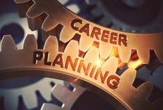 Planung- der beruflichen Laufbahnkonzept Goldene Zahnräder Abbildung 3D lizenzfreie abbildung