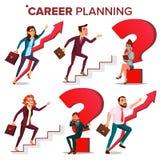 Planung- der beruflichen Laufbahnvektor auf weißem background Finden Sie neuen Job Enormes rotes Fragezeichen Schnelles Karriere- stock abbildung