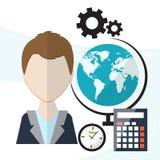 Planungsarbeitsfluß Vor dem hintergrund der Büroeinzelteile wie Uhren, Stifte, Kalender, Zeitplan Vektor Stockfoto